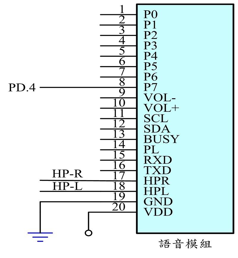 图4为本系统语音模组之控制电路图 , 用 於 发 出 提 示 语 音 之 用