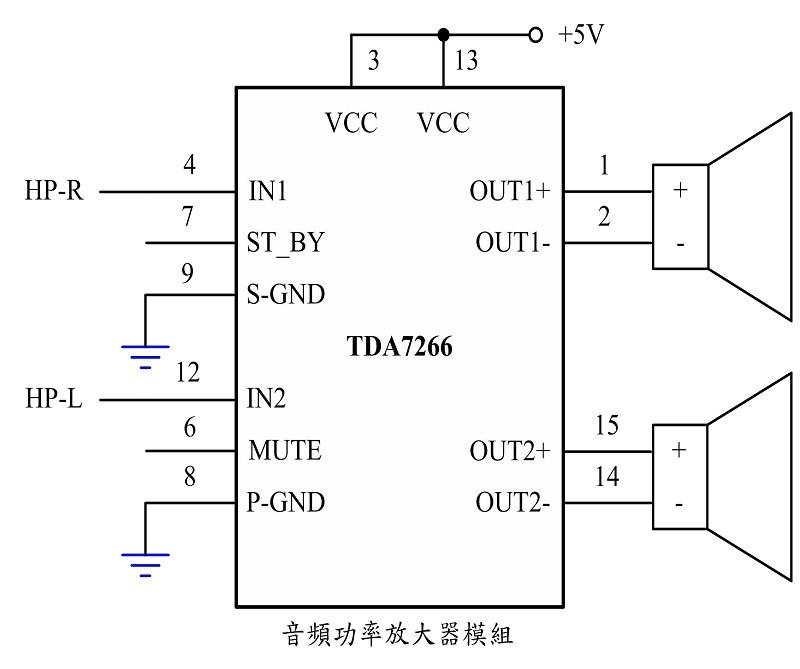图5为音频放大器模组之控制电路图,语音模组之音频讯号输出采用 tda