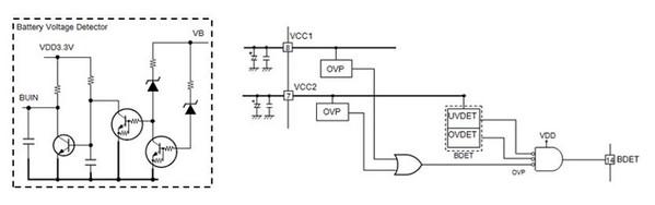 图三: 图左右为整合的电池电压检测电路节省元件数和pcb面积.
