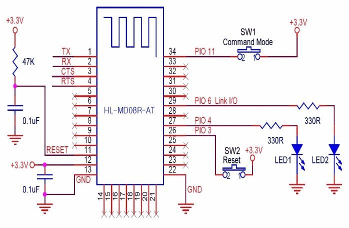 图七: 蓝牙模组基本电路